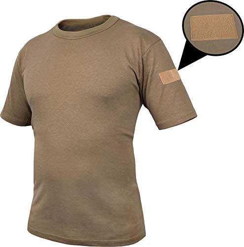 Khaki Bdu Shirt (normani Tactical BDU Kampfshirt T-Shirt mit Klettpatches, Armtaschen & versteckten Seitentaschen Farbe Khaki-Captain Größe 6/M)