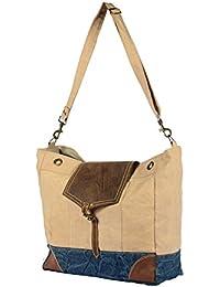 Priti Vintage Design Handbag Tote Bag Travel Bag In Washed Canvas Leather - B0791F941G