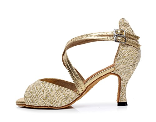 Minitoo da donna stile qj6210 Peep Toe doppia croce Strap Salsa Latin Ballroom Dance Shoes Gold