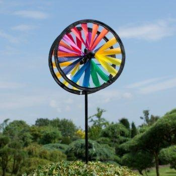 CIM Windspiel - Magic Wheel Twin 16 - UV-beständig und wetterfest - Windräder: 2xØ16cm, Höhe: 53cm - inkl. Fiberglasstab