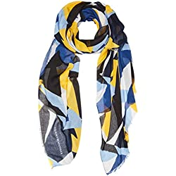 Tommy Hilfiger Women's Printed Colorblock Scarf Scarf, Blue (Blue Mix 901), One size (Manufacturer size: OS)