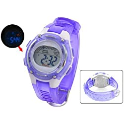 TOOGOO(R) Ladies Adjustable Purple White Coldlight Stopwatch Alarm Clock Sport Watch w Box