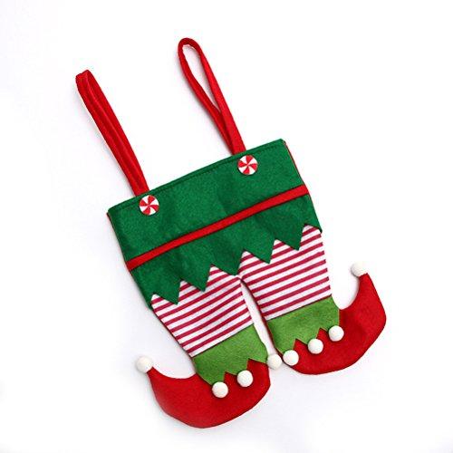 Da.Wa 1 Stück Weihnachtself Styling Bag Süßigkeitstasche Santa Bag mit Seil Grün
