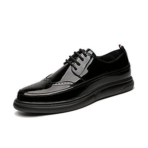 HUANGLINGLING Casual Suede Shoe Herren Oxfords Flache Ferse Spitzschuh Lace up Brogue Muster Business Freizeitschuhe Herren Sneaker (Color : Patent Black, Größe : 45 EU) (Patent-espadrille)