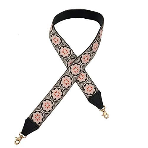 Frauen Floral Stickerei Breite Gurt Für Tasche PU Ibiza Ethnic Hippie Gypsy Bohemian Boho Chic Crossbody Gürtel Band Pink -