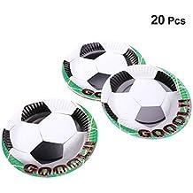 Amosfun 20 piezas Placas desechables Patrón de fútbol Bandeja de papel Pastel Plato Decoración para la