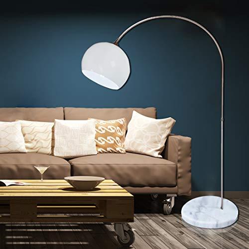 CCLIFE LED E27 Bogenlampe Stehlampe Stehleuchte Marmorfuß weiß/orange Standleuchte, Farbe:Weiss