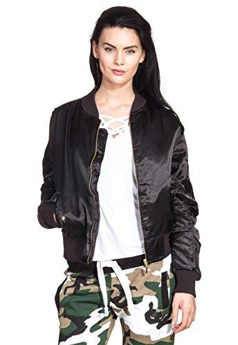 Bomberjacke Pilotenjacke Shiny Fliegerjacke Damen Mack Jacke Gold Retro Alpha Daunenjacke Knöpfe Fashion Schwarz XS