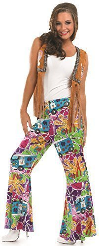Psycehdelic Hippy Pattern Flared Trousers for 60s/70s Fancy Dress, Sizes 8 to 26.