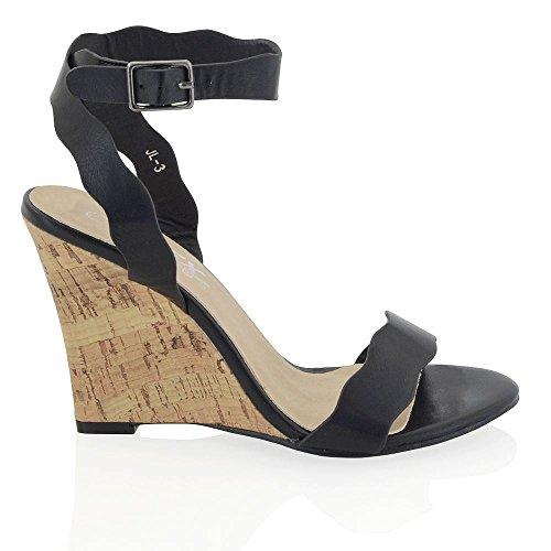 Essex Glam Sandalo Donna Peep Toe Pelle Sintetica Tacco a Cuneo Cinturino Caviglia Nero Pelle sintetica