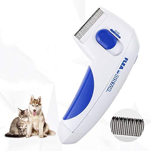UYGN Elektrischer Flohkamm für Katzen und Hunde, zum Entfernen von Flöhen, zum Entfernen von elektrischen Kopfbürsten