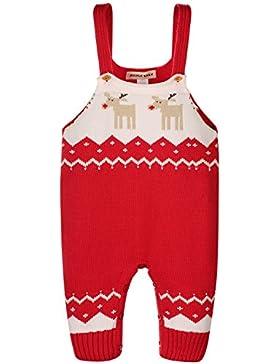 Zoerea Unisex Baby Latzhose Romper Bib Pants Outfits Hosenträger Gestrickt Weihnachten Hirsch Schultergurt Baumwoll...