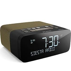pure siesta rise s dab fm alarm clock radio with bluetooth usb mobile charging gold amazon. Black Bedroom Furniture Sets. Home Design Ideas
