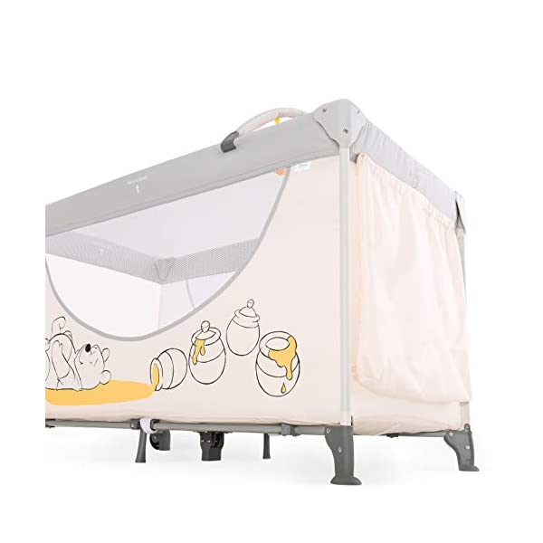 Hauck Dream N Play Go, 5-Part Travel Cot from Birth to 15 kg, 120 x 60 cm, Folding Travel Bed with Folding Mattress, Carry Bag, Play Arch and Toy Bag, Tilt-Resistant, Pooh Cuddles Disney Suitable from birth Includes fold up mattress (60 x 120cm) Folds away into its own carry bag 3