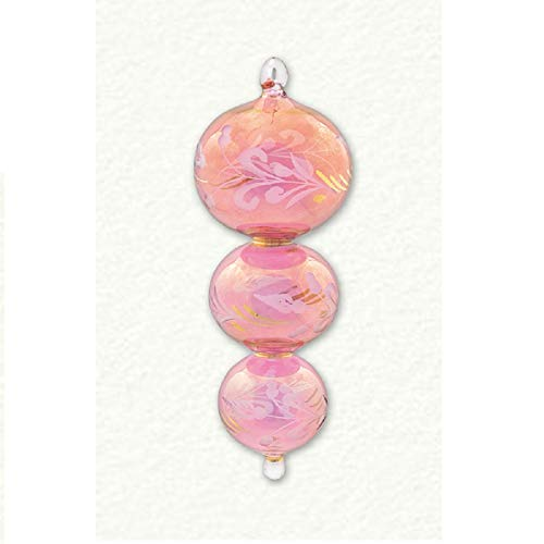 Home and Holiday Shops Pink Triple Sphere Etched Egyptian Glass Christmas Tree Ornament Made in Egypt -