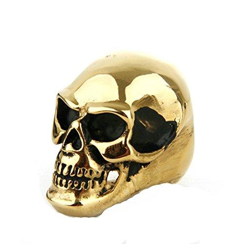 Beydodo Edelstahl Herren Ringe Totenkopf Schädel Freundschaftsring Ring Gold Größe 65 (20.7)