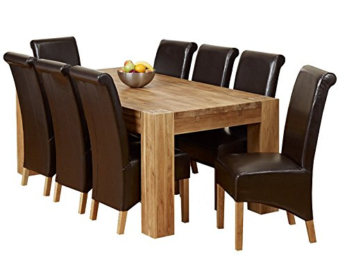oak dining room table and 8 chairs. 1home full solid oak dining table set with chunky legs room furniture 200cm (table 8 chairs) and chairs i