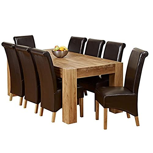 1home Full Solid Oak Dining Table Set with Chunky Legs Room Furniture 200cm   Table with 8 Chairs. Table with 8 Chairs  Amazon co uk