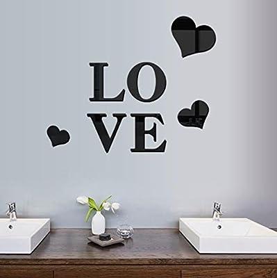 ShopSquare64 3D Mehrfarbenliebes-Silber DIY Form-Spiegel-Wand-Aufkleber-Ausgangs-Wand-Schlafzimmer-Büro-Dekor von ShopSquare64 - Gartenmöbel von Du und Dein Garten