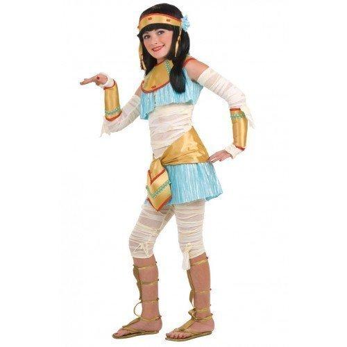 7 Stück Kinder Mädchen Ägyptische Kleopatra halloween-mumie büchertag Kostüm Kleid Outfit 3 - 10 Jahre - Weiß, Weiß, 5-7 Years (Halloween-leggings Mädchen)