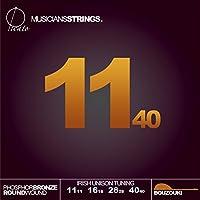 Picato 96581 Irish Unison Tuning Phosphor Bronze Loop End Bouzouki 11-40 Strings, Set of 8 Pieces