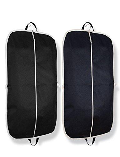 Umklappbar Kleidersack für Anzüge und Kleider, Bidear Atmungsaktiv Staubdicht Mantel Schützend Sack mit Griff zum Reise - 110 x 60 cm (Schwarz+Marine)