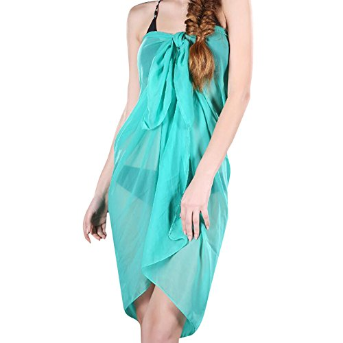 Damen Chiffon Beachtuch Sarong Pareo Wickelrock Strandkleid Bikinirock Deylay Strandkleider Größe 100cm x 150cm Lake Blau