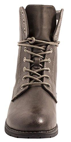 Elara Damen Stiefelette | Bequeme Worker Boots | Blockabsatz Schnürer Grau