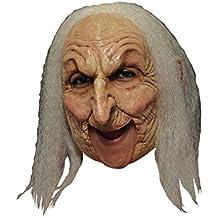 Máscara de bruja vieja con el pelo gris