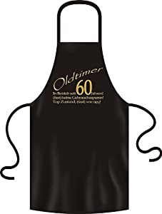 zum 60 Geburtstag Grillschürze Oldtimer (fast) wie neu in Betrieb seit 60 Jahren in schwarz one size