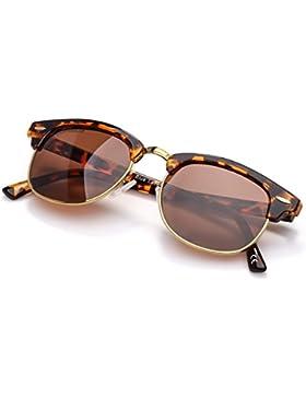 COLOSSEIN Gafas de sol retro clásico del medio marco para Unisex