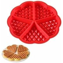 caolator DIY Gaufre redondo/Cookie/pastel de Kraft–Molde redondo placa 5gofres forma de corazón con Chocolate repostería silicona forma específica herramienta cocina de horno de silicona