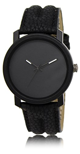 AD Global All Black Leather Analog Watch For Boys