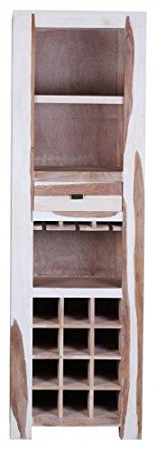 FineBuy Sheesham Massivholz Weinregal Bar 178 x 55 x 40 cm