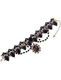 Joyería Yazilind Noble Lolita Negro Rose granos del cristal de encaje de cuello del banquete de boda del collar para la Mujer
