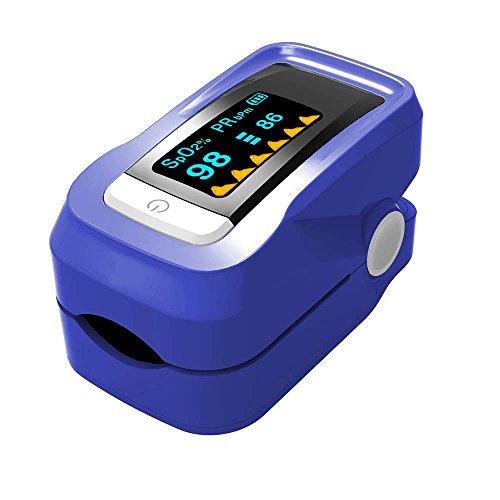 lymty Finger-Pulsoximeter-Blutsauerstoffsensor für Sport und Luftfahrt. Tragbar und leicht mit LED-Anzeige, Schlüsselband und Reisekoffer