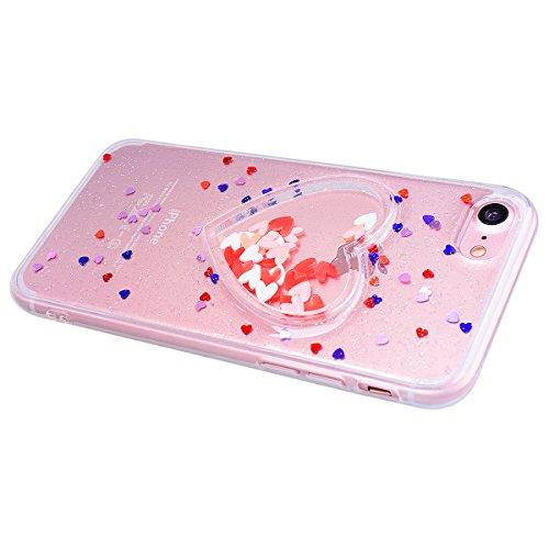 HB-Int Hülle für iPhone 7 Weich Silikon Back Cover Bling Glitter Schutzhülle Schwarz Flexible Dünn Case Herz Pailletten Full Body Bumper Shell Handytasche Durchsichtig