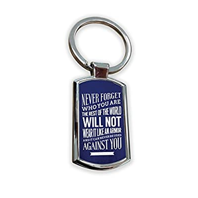 Game Of Thrones Fantasy GOT Series TV Usa Show Keyring Metal charm pendant key ring keychain bag tag fob - tyrion lannister quote text art never forget armor