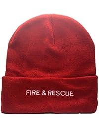 Fire & Rescue–Chapeau d'hiver laine Bonnet en tricot brodé Fire & Rescue, ultra doux