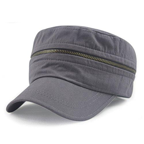 Lawevan® Visières Unisexe Femmes Hommes Outdoor Zipper Cap Flat Gris