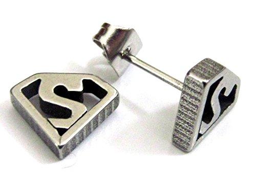 Da uomo supereroe singolo earring- Batman Superman Movie Comic Logo Piercing stud- 6varianti nero Silver S