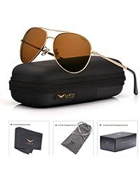 LUENX Uomo occhiali da sole Aviatore Polarizzate di guida con il caso - Protezione UV 400 Specchio 60MM