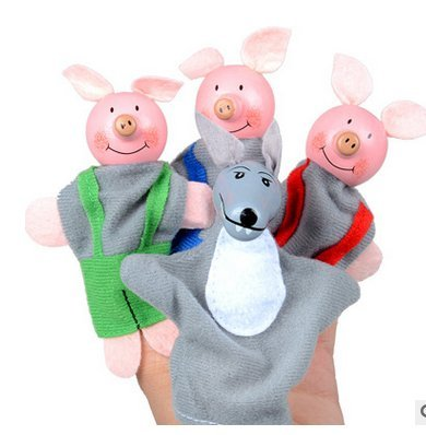 Newin Star 4 Pcs Baby Finger Puppets Soft Small Pig Puppets Finger Plush Toys