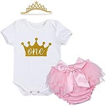 IWEMEK Bebé Niñas Primer Cumpleaños Princesa Unicornio Trajes de Fiesta 3pcs Conjunto de Mameluco + Bloomers