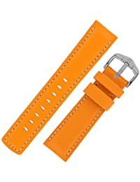 Hirsch Carbon Embossed Water-Resistant Leather Watch Strap with Buckle in Orange (22mm, Silver Buckle)