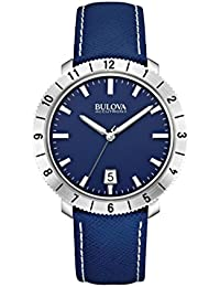 Bulova Accutron II Men's Quartz Watch with Blue Dial Analogue Display and Blue Leather Strap 96B204