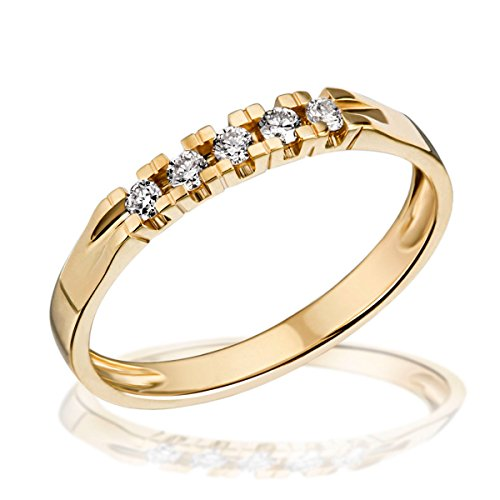 goldmaid Damen-Ring Gelb Gold 585 5 Diamanten 0,15 Karat Memoire Grösse 56 Me R4717GG56 Brillanten  Diamantring Verlobung