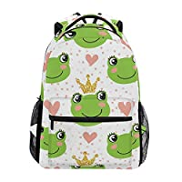 Hunihuni Cute Frog Crown Durable Backpack College School Book Shoulder Bag Daypack for Boys Girls Man Woman
