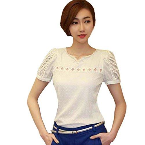 T-Shirt Chiffon Sannysis Damen Spitze T-shirts Kurzarm Shirt V-Ausschnitt Puppe Chiffon Bluse Tops (Sexy-Weiß, M) (T-shirt Weiße Damen-baby-puppe)