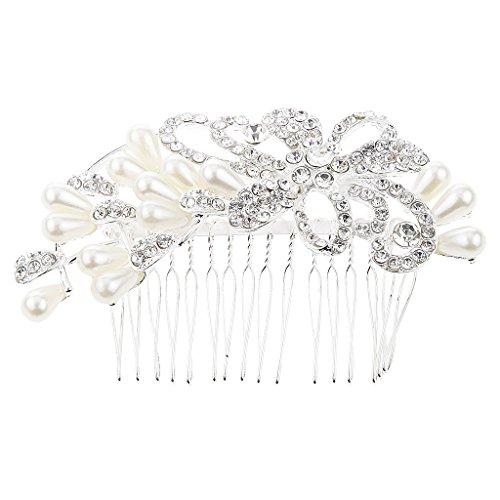MagiDeal Fleur Peigne à Cheveux Décoratif pour Mariée Accessoire Orné de Cristal et Faux Perles Blanche